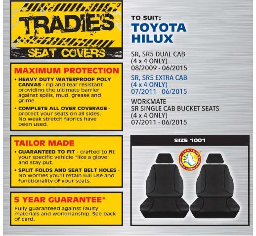 BLACK CANVAS FRONT SEAT COVER - HILUX SR EXTRA CAB/SR5 DUAL CAB