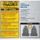GREY CANVAS FRONT SEAT COVER - HILUX SR EXTRA CAB/SR5 DUAL CAB