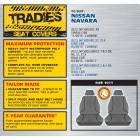 GREY CANVAS FRONT SEAT COVER - NISSAN NAVARA