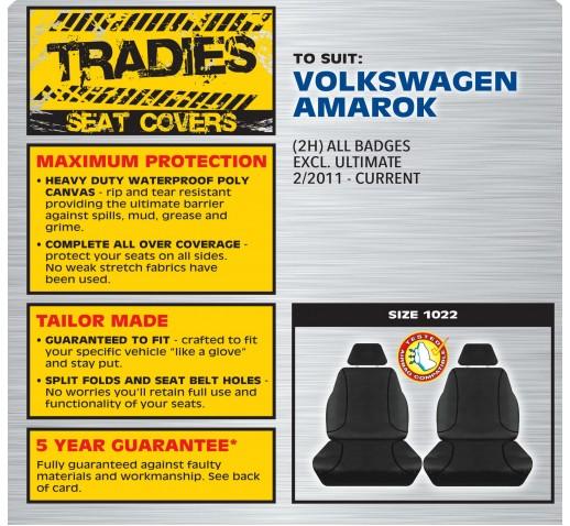 BLACK CANVAS FRONT SEAT COVER- VW AMAROK 02/2011 ONWARD
