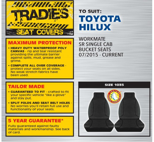 BLACK CANVAS FRONT SEAT COVER - HILUX 07/2015 ONWARD