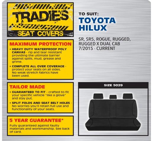 BLACK CANVAS REAR SEAT COVER - HILUX 07/2015 ONWARD